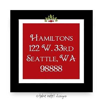 amazon com holiday return address labels red frame square take