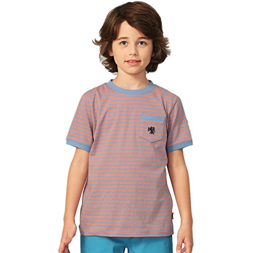 Sleeve Short T-shirt Crewneck Pique (Leo&Lily Big Boys Short Sleeve Color Stripe Crew-Neck T-Shirt (Blue,14))