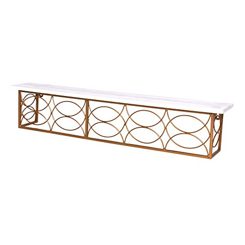 Concepts 24W X 4L White Wood Wall Hanger Shelf With Gold Met