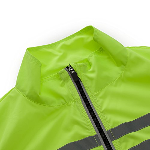 Bpbtti Men's Hi-Viz Safety Running Cycling Vest - Windproof and Reflective (X-Large, Hi-Viz Yellow)