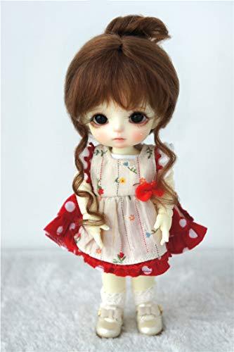 Brown Mohair Light (JD160 5-6inch 1/8 Lati Yellow Classical Twist Mohair BJD Doll Wigs (Light Brown))