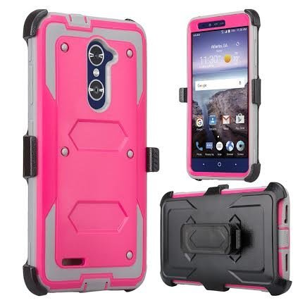 ZTE Blade X Max Case, Zmax Pro Case, Grand X Max 2 Case, ZTE Max Duo LTE Case, SOGA Shockproof Rugged Hybrid Armor Case Cover w/ Belt Clip Holster & Built-in Screen Protector for ZTE Carry - Pink - Lte Grand X Max Cases