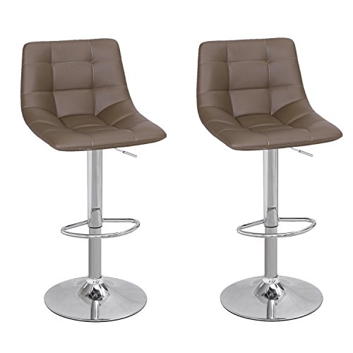 Adeco Modern Swivel Adjustable Leather Brown Armless Barstool with Chrome Base – Set of 2, Coffee