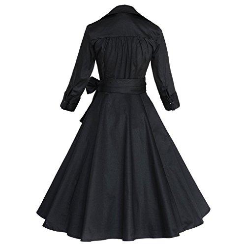 Soire longue V Noir Bigood Cocktail Mi Hepburn Robe Manche Vintage Annes Style 50s Robes Col xOq0vqw64