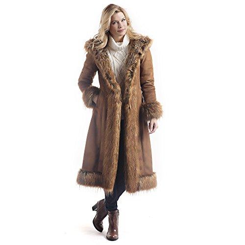 2 X Full Coat (Donna Salyers' Fabulous Furs Women's Plus Size Faux Suede/Fur Full-Length Coat, Tobacco, 2X)