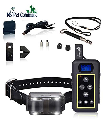 - My Pet Command 1.25 Mile (6600 Ft) Dog Training Collar Safe Dog Shock Collar with Remote Shock, Vibrate, Tone and Flashing Beacon Lights Waterproof Rechargeable Dog Hunting add Up to 3 Collars Bonus