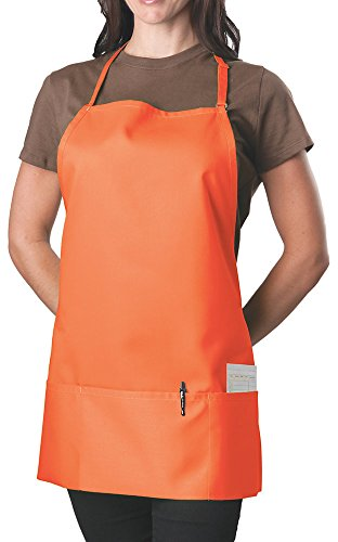 Orange Adjustable Bib Apron - 3 Pocket