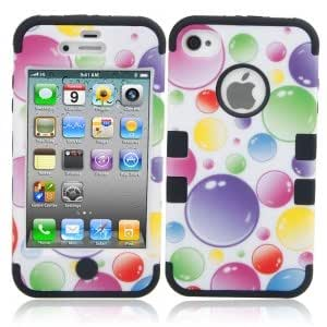 3-in-1 Colorized Bubbles Pattern Silicone Protective Case for iPhone 4/4S Black