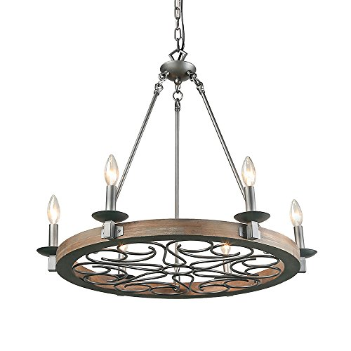 LNC 6-Light Transitional Chandelier Lighting Wood Chandelier Silver Pendant Lighting (Six Outdoor Light Chandelier)
