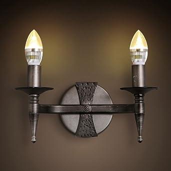 LZDHY Amerikanischen Landhausstil 2 Light Iron Candle Wandleuchte Wohnzimmer  Schlafzimmer Wandleuchten Balkon Gehweg Treppen Wandleuchte