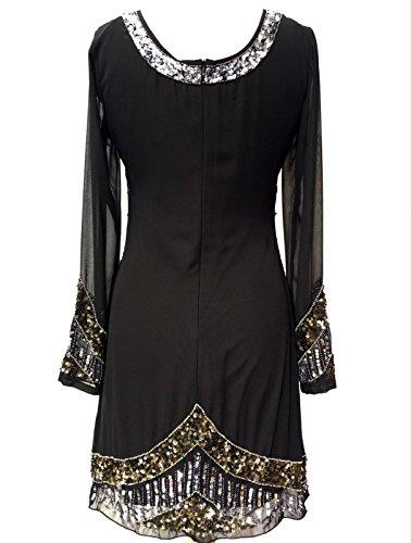 Vestido vintage para mujer, estilo Charleston de los años 20, con flecos, perlas y lentejuelas negro