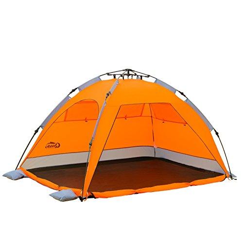 Qeedo - Quick Palm Strandmuschel orange mit UV-Schutz kleines Packmaß - schnell aufzubauender Sonnenschutz