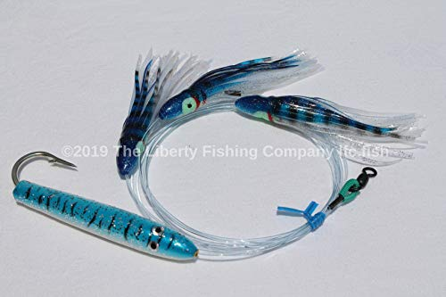 4in Blue & White Cedar Plug Daisy Chain Saltwater Fishing Lure for Tuna Mahi Wahoo Marlin