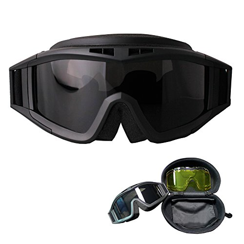 (FORITONE Ballistic Impact Resistant Goggles,Military & Law Enforcement Goggles,Airsoft Tactical Anti-Fog Goggles, Desert Combat Goggles,with 2 Extra Interchangeable Lenses Clear & Yellow)