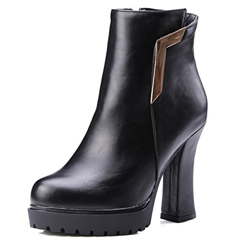 LongFengMa Women's High Heel Ankle Boots Round Toe Platform Glitter Block Heel Shoes Black Q7oJuQn