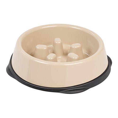 IRIS Slow Feeding Bowl for Short Snouted Pets, Beige/Black
