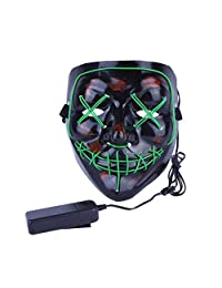 Halloween Mask Light Up V Mask EL Wire LED Scary Mask for Festival Parties Costume, Fakes Masquerades (Green)