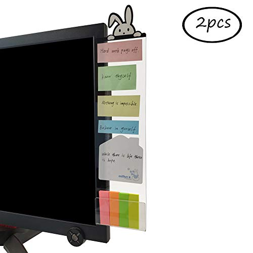 MINSA Fashion Multifunction Utility Acrylic Transparent Computer Monitors Side Panel/Memo Pads/Message Boards/Sticky Boards for Computer Screen, 1 Set (Left & Right) (Rabbit)