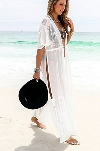 97592d02ce Jeasona Women's Chiffon Lace Kimono Maxi Bikini Swimsuit Bathing Suit Cover  up (White)