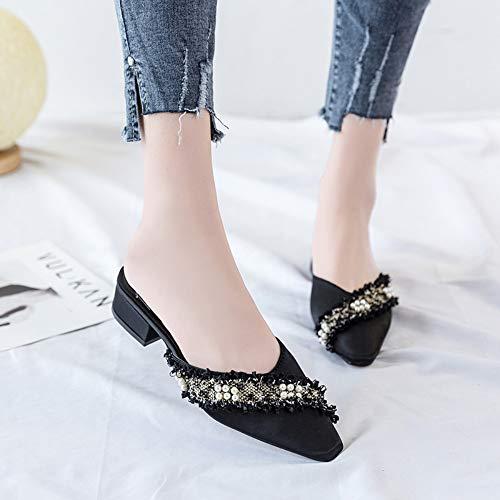 Magicrulu Black Chaussures Talons Rugueux Et Pantoufles Femmes Pour Couture D'été À Bas FPCnFwrqU