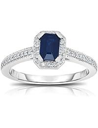 14K White Gold Emerald Cut Blue Sapphire & Diamond (0.15 Ct, G-H, SI2-I1) Ring