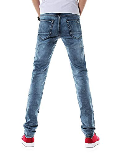 color Slim 30 Da Denim T Size Lunghi Pantaloni Vintage Stile Dh8315xblau Stretch Dritto Fit Casual Jeans 32l Uomo SxAYqR