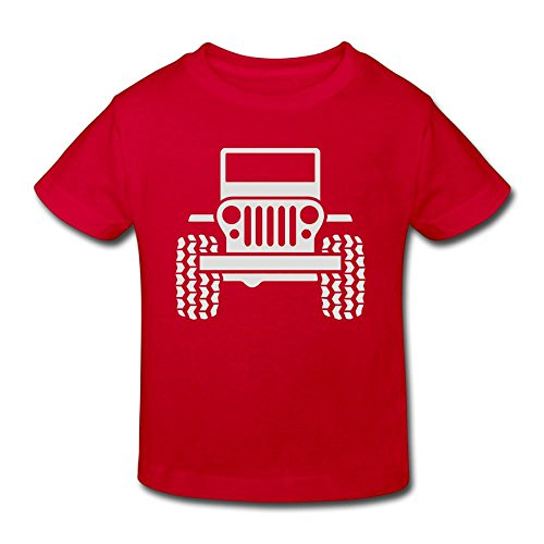 Wiongh Opp Cotton Short Sleeve T-Shirts Jeep 1 Childrens/Kid for Unisex Red