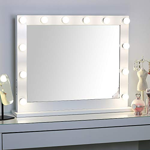 - Large Hollywood Vanity Mirror with Lights,Lighted Standing or Wall Makeup Mirror,Side-Mounted Power Outlet USB Port and Dimmer