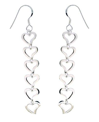 H. Gaventa Ltd - E - 11004 - Boucles d'Oreilles Pendantes Femme - Coeur - Argent Sterling 2.84 Gr