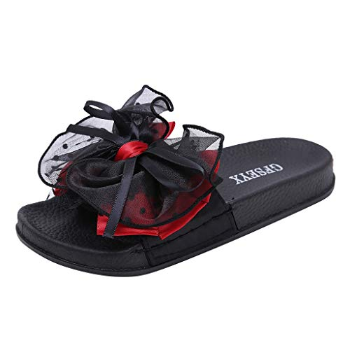 MILIMIEYIK Beach Swim Shoes, Women Beach Slippers, Summer Shoes Bow Wedges Flip Flops Non-Slip Clip Toe Flat Slippers Sandals Red