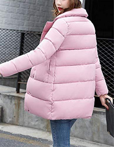 Cierre Vintage Chaqueta Moda Outerwear Acolchada Plumas Larga Abrigos Sólidos Otoño De Fiesta Especial Invierno Mujer Estilo Colores con Rosa Manga Chaqueta Bolsillos Botones Elegante Fz8RqxwB