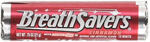 Breath Mint Rolls (Breath Savers Cinnamon Mint Candy, Sugar Free Mints with Neutrazin, 24 Rolls)