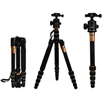 AFAITH Q666C Professional Compact Carbon Fiber Camera Tripod Monopod With Ball Head & Quick Release, Portable Traveling Tripod for DSLR Camera Canon Nikon Pentax, Load up to 33 lbs TS120