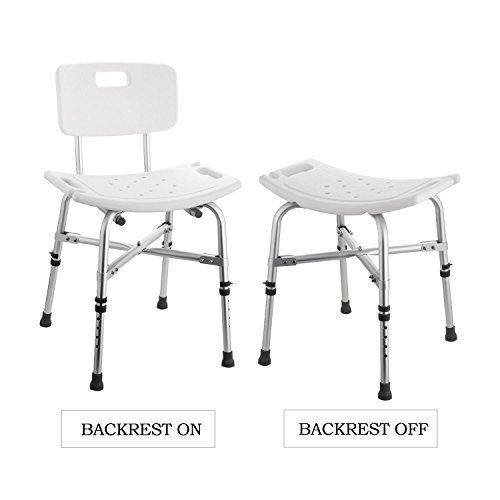 Meflying Adjustable Shower Chair with Removable Back, Medical Lightweight Bath Seat Shower Bench Handles for Handicap, Disabled, Seniors & Elderly- Non Slip Tub Safety (US STOCK) by Meflying