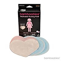 bamboobies Washable Reusable Nursing Pads with Leak-Proof Backing for Breastf...