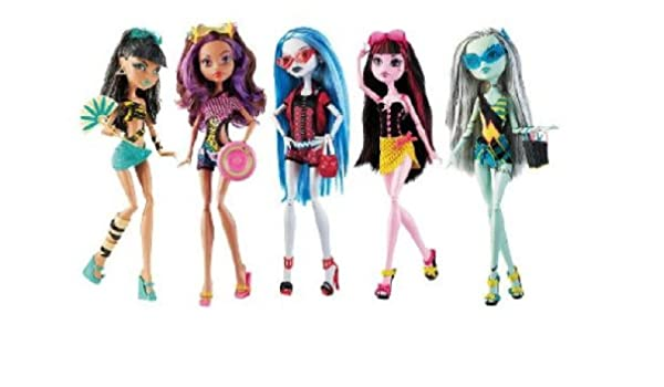 Amazon.es: Monster High Exclusivo Paquete de 5 Muñecas en la playa ...