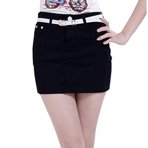 junkai Jeans pour Femmes Mini-Jupe lastique Denim Jupe Crayon Moulante Jupes Courtes t Automne Tailles S-XL Noir