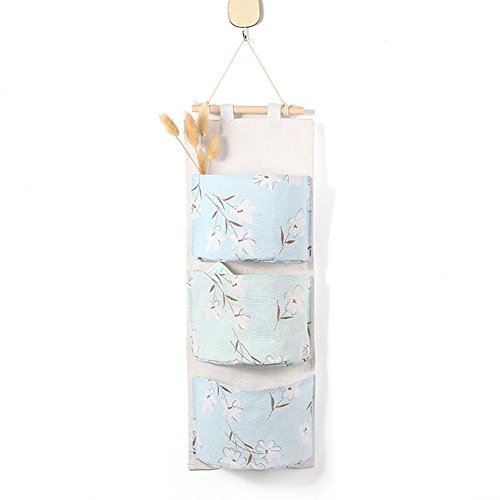 angel3292 Clearance Deals3 Pockets Cotton Linen Wall Hanging Sundry Storage Bag Flower Organizer Pouch