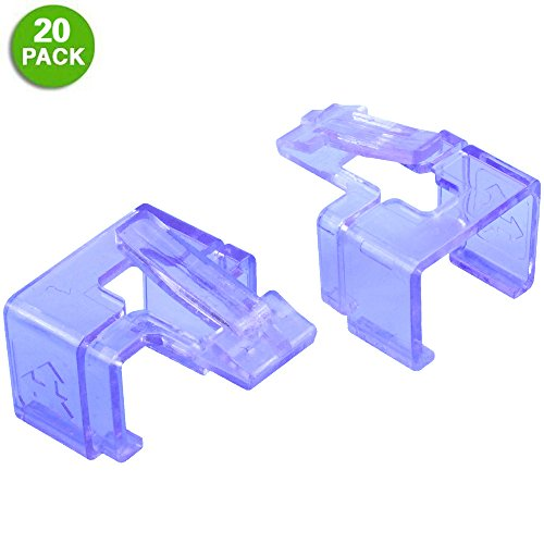 20 Pack Plug SOS Clips in Purple, for RJ45 Connector Fix/Repair and Color Coding/Management, NO Crimp Tool Needed (Money Protector Faceplate Cash)