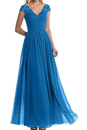 Ballkleider Lang Blau Abendkleider Brautjungfernkleider lang Spitze Marie Blau Braut Damen La Kurzarm Partykleider f1vT0x