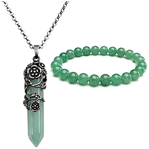 Top Plaza Natural Amethyst Rose Quartz Gemstone Crystal Healing Antique Silver Flower Wrap Pointed Pendant Necklace Bracelet Jewelry Set(Green - Crystal Wrap Necklace