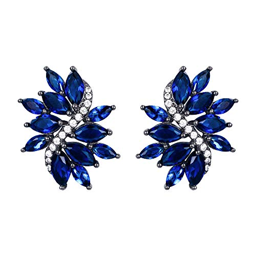 EVER FAITH Women's Marquise CZ Elegant Bridal Floral Leaf Pierced Stud Earrings Blue Black-Tone
