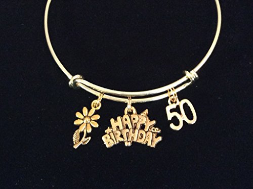 Gold Expandable Charm Bracelet Adjustable Wire Bangle 50 Fifty Meaningful Gift ()