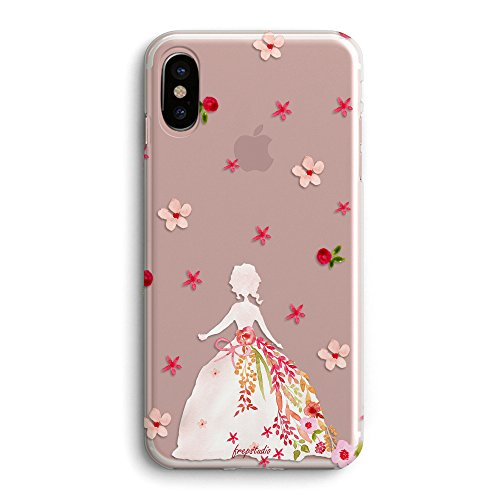 iPhone X Case,Spring Flowers Aloha Summer Tropical Compatible Daisy Pink Cute Florals Heart Bow Wedding Dress Colorful Flowers Dress Girl Clear TPU Rubber Case for iPhone X