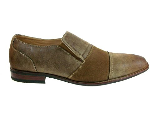 Ferro Aldo Mens 19279 Two Tone Slip Ons Casual Dress Loafers Shoes Brown kMiU3dfaH