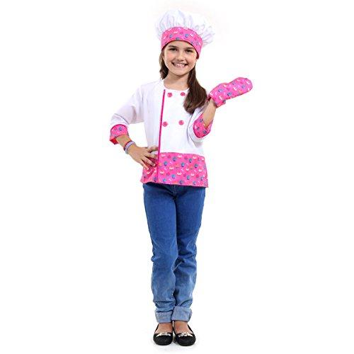 Barbie Chef Infantil Sulamericana Fantasias Branco/Rosa G 10/12 Anos