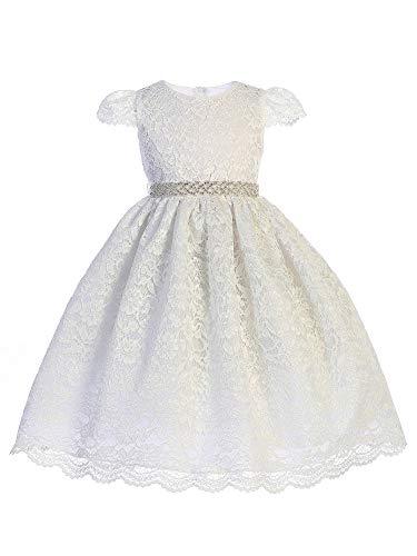 Crayon Kids Little Girls White Lace Rhinestone Trim Flower Girl Dress 2T