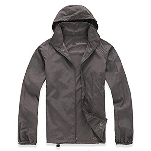 LANBAOSI Women's Super Lightweight UV Protect+Quick Dry Waterproof Skin Jacket Dark Grey Size XS