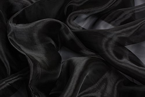 Sheer Black Fabric - mds Pack of 5 Yard Bridal Solid Sheer Organza Fabric Bolt for Wedding Dress,Fashion, Crafts, Decorations Silky Shiny Organza 44