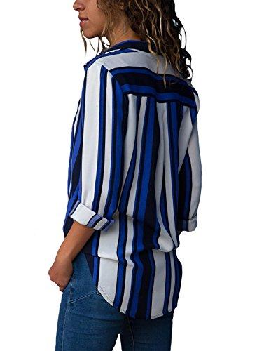 Rayures Blouse Shirt Shirt T Longues pour Bleu d'automne Chemise Manches Femme Avanon Longues Manches qg8pw0x